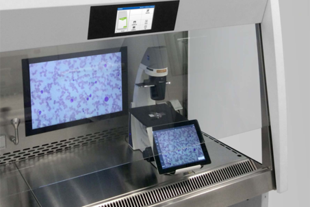 Light microscope with integrated camera in safety cabinet